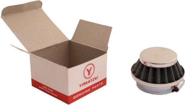 Air Filter - 44mm to 46mm, Conical, Small Stack (30mm), 2 Stroke, Yimatzu Brand, Chrome