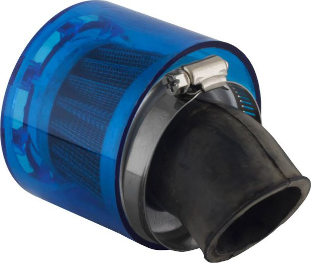 Air Filter - 35mm, Conical, Waterproof, Angled, Yimatzu Brand, Blue