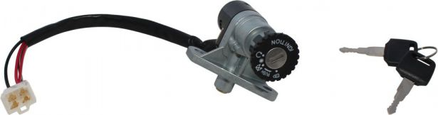Ignition Key Switch - Vento Zip, 4 pin Male, Steering Lock
