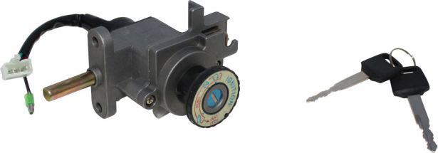 Ignition Key Switch - 4 pin Male, Metal, Steering Lock, Scooter