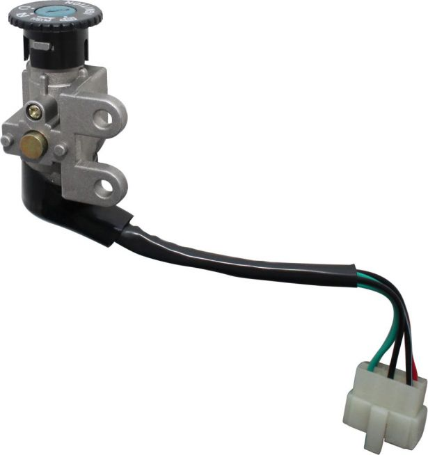 Ignition Key Switch - 5 Wire, 6 pin Male, Metal, Steering Lock, Scooter, GY6