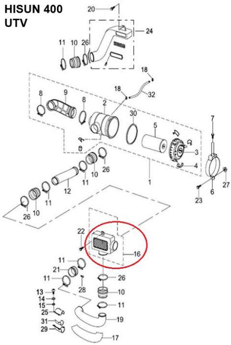 Air Filter Box - Air Cleaner Box, 400cc, 500cc, 700cc, 800cc Hisun