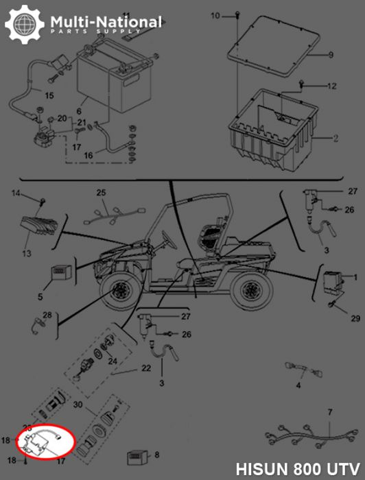 2WD / 4WD Switch - 400cc, 500cc, 700cc, 800cc Hisun
