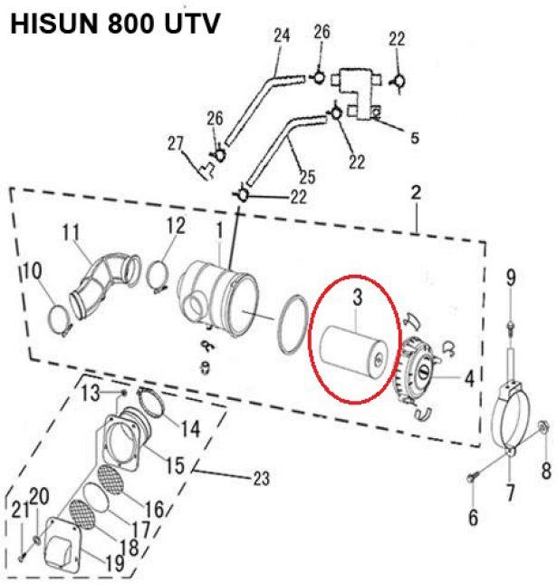 Air Filter - 400cc  500cc  700cc  800cc Hisun - Multi-national Part Supply