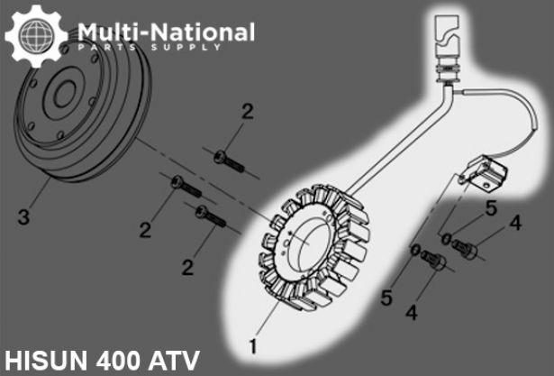 Stator - Magneto Coil, 18G, 5 Wire, 400cc, 500cc, 700cc, 800cc Hisun