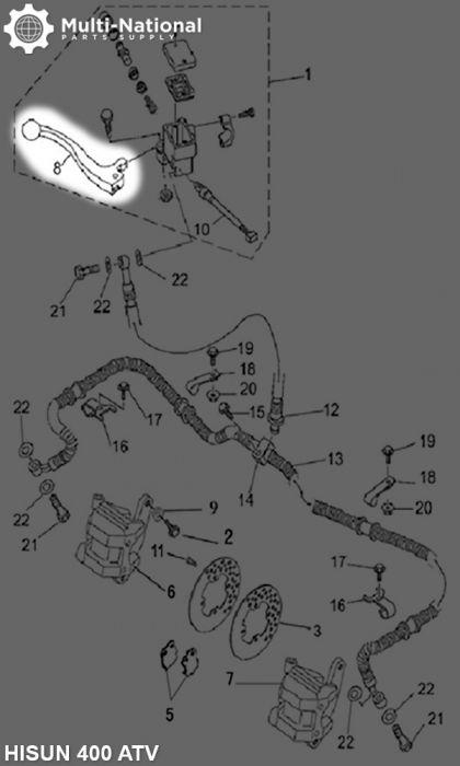 Brake Lever - Aluminum,  Black, 400cc, 500cc, 700cc, 800cc Hisun