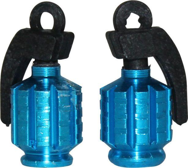 Valve Stem Caps - Blue Grenade