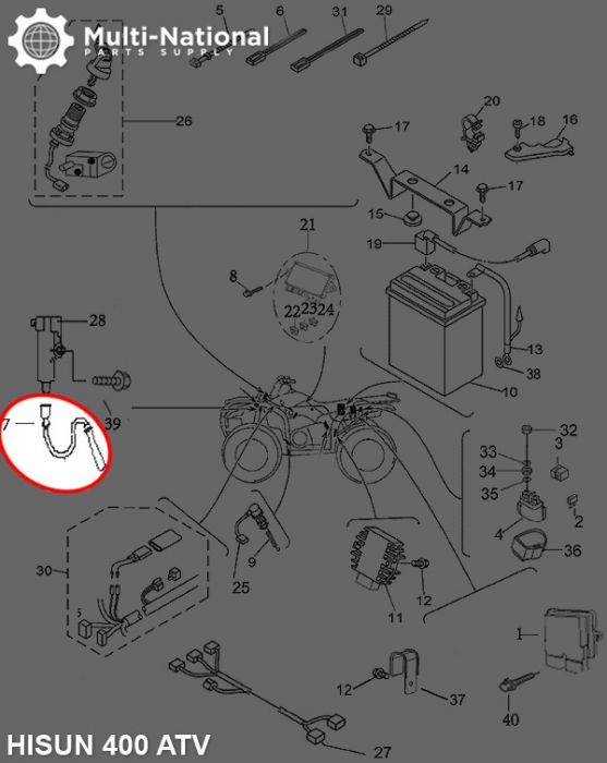 Coil Wire 400cc 500cc EFI HiSun UTV ATV Bennche Massimo Menards YardSport Qlink