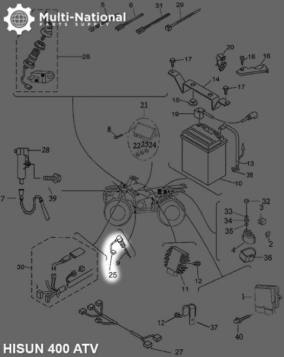 Brake Light Switch - ATV/UTV, 400cc to 800cc, Hisun, Rear Brake