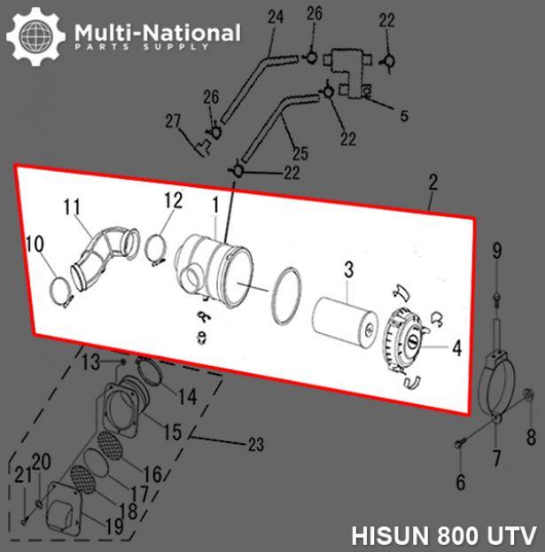 Air Filter Assembly - Air Cleaner Box, UTV, Hisun, 800cc