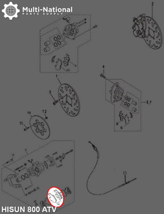 Brake Pads - 400cc to 800cc, ATV & UTV, Hisun, Rear, Outer