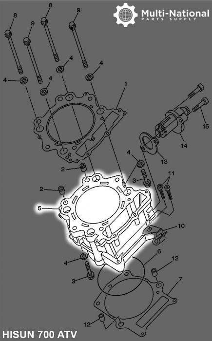 Cylinder Block - ATV, Hisun, 700cc