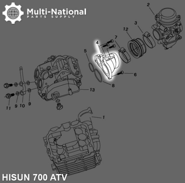 Cylinder Head - ATV, Hisun, 700cc