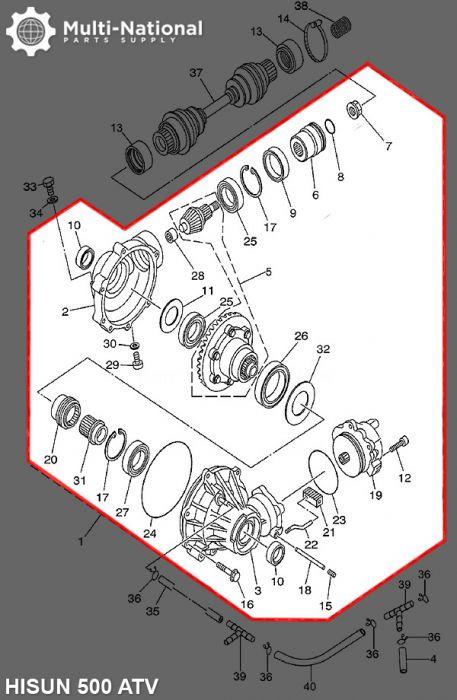 Front Differential - 500-700cc, Hisun, ATV