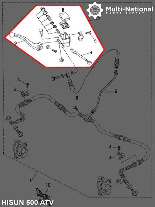 Brake Lever With Brake Oil Reservoir - Right Hand, ATV, Hisun, 500-800cc