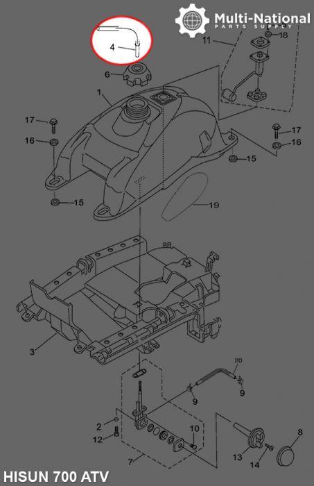 Fuel Tank Vent Pipe - ATV, Hisun, 400-700cc