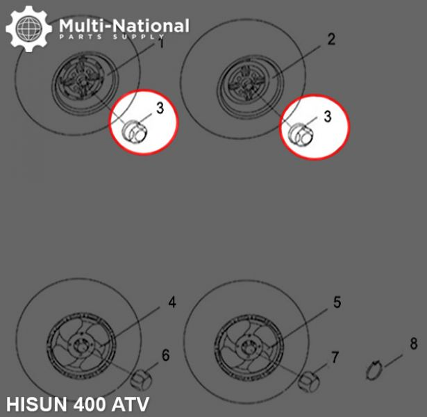 Dust Covers - Wheel Caps, ATV, Hisun, 400-800cc (1pc)