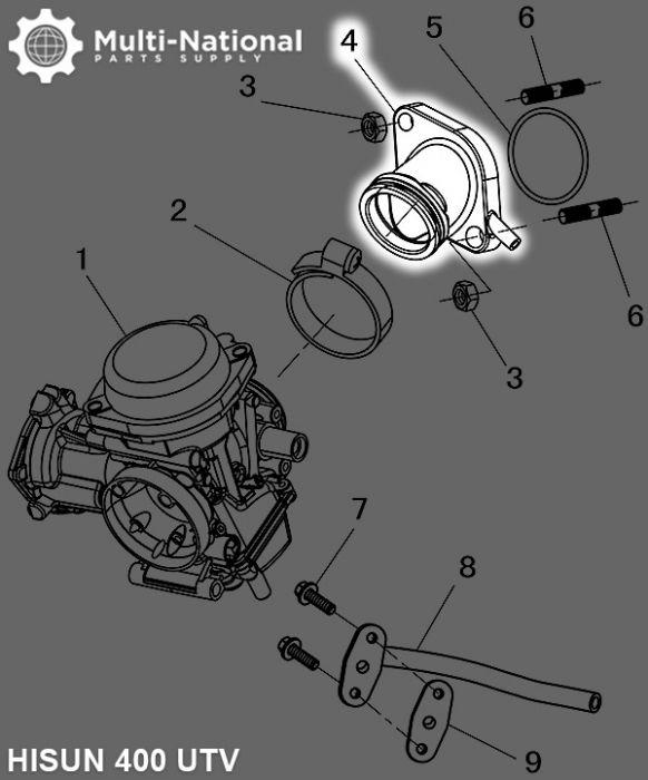 Intake - Hisun, 400-500cc, ATV/UTV