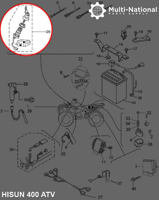 Ignition Key Switch - ATV, Hisun, 400-700cc