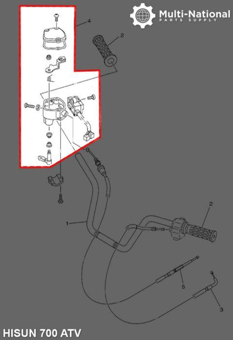 Throttle Lever - Thumb Throttle, ATV, Hisun, 500-800cc