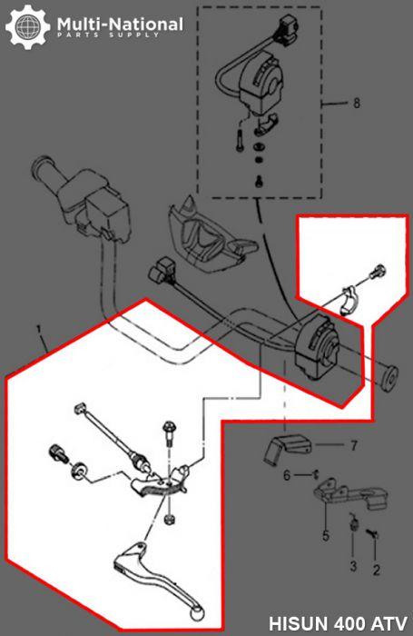 Brake Lever - Left Hand Assembly, ATV, Hisun, 400-700cc