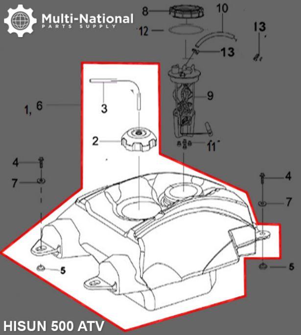 Gas Tank - ATV, Hisun, 500-700cc