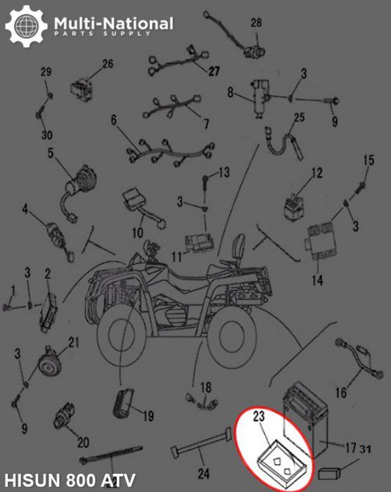 Battery Cushion Rubber - ATV, Hisun, 800cc