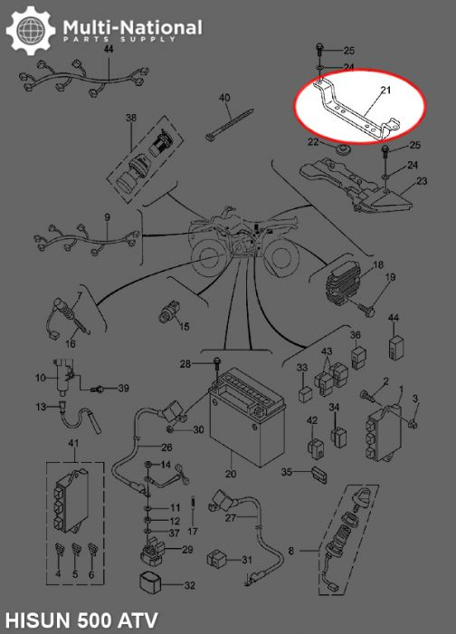 Battery Press Plate - ATV, Hisun, 500-700cc
