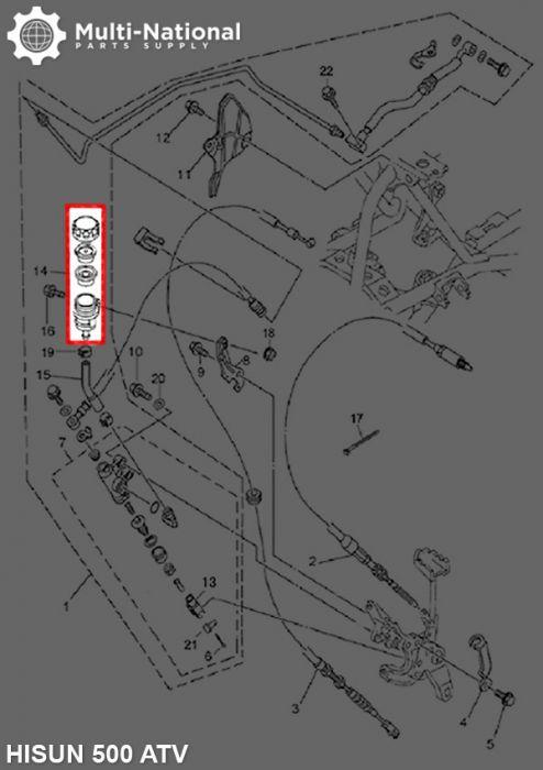 Brake Fluid Reservoir - Single Mount Hole & Threaded Cap, Hisun, 500-800cc