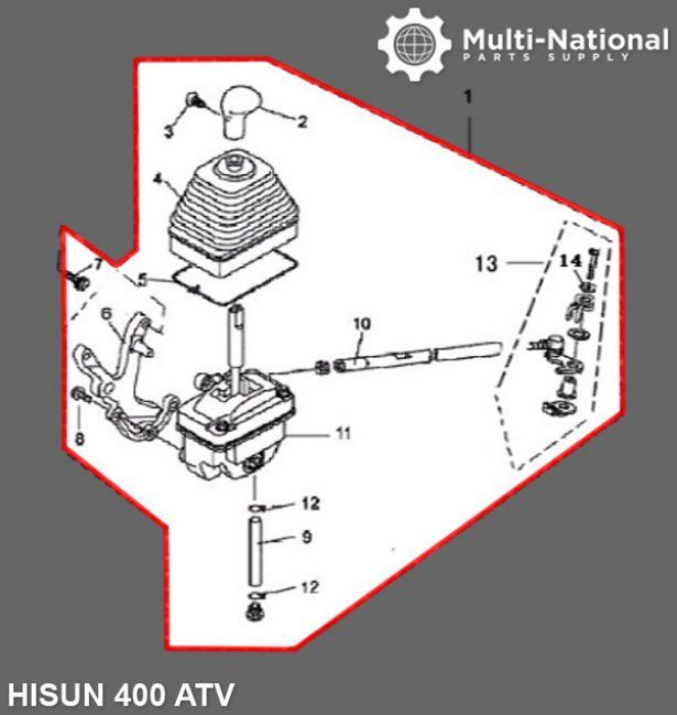 Gear Shift Assembly - ATV, Hisun, 400cc