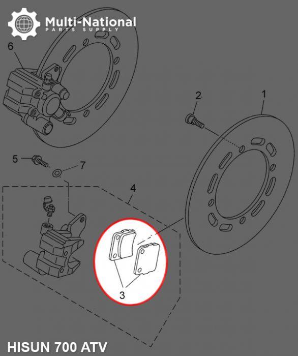 Brake Pads - Ceramic, ATV, Hisun, 400-700cc (1pc)