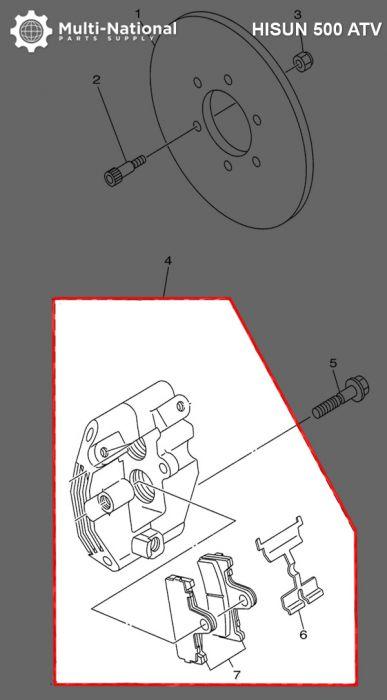 Brake Caliper - ATV, Hisun, 500-700cc, Rear