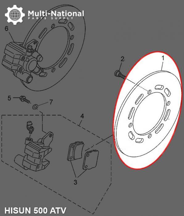 Brake Rotor - 4 Bolt 220mm 107mm Brake Disc, 500-700cc, Hisun