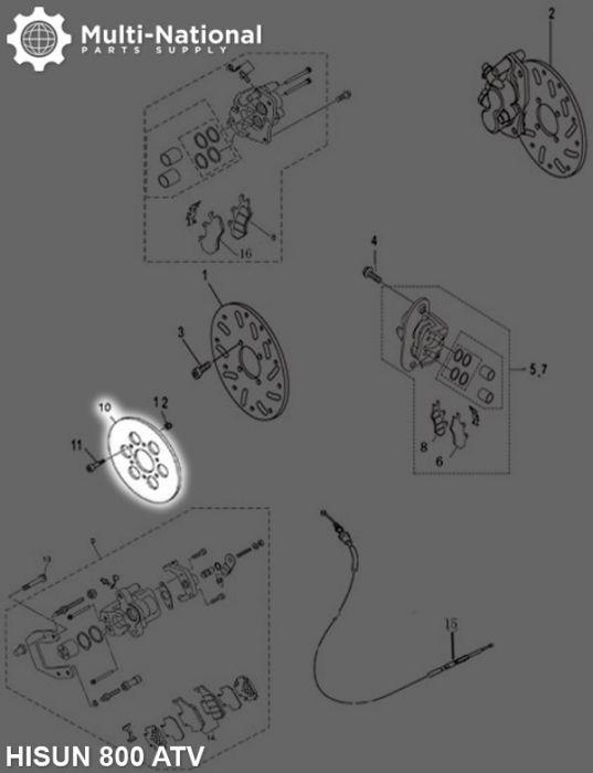 Brake Rotor - 4 Bolt 170mm 62mm Brake Disc, ATV, 800cc, Hisun