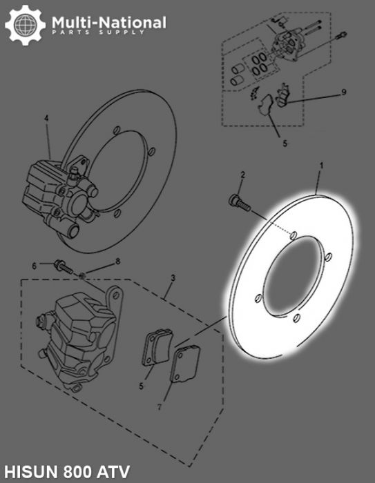 Brake Rotor - 4 Bolt 255mm 72mm Brake Disc, 800cc, Hisun
