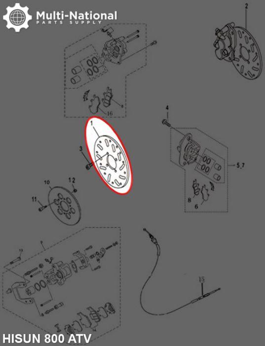 Brake Rotor - 4 Bolt 240mm 85mm Brake Disc, 800cc, Hisun, Right