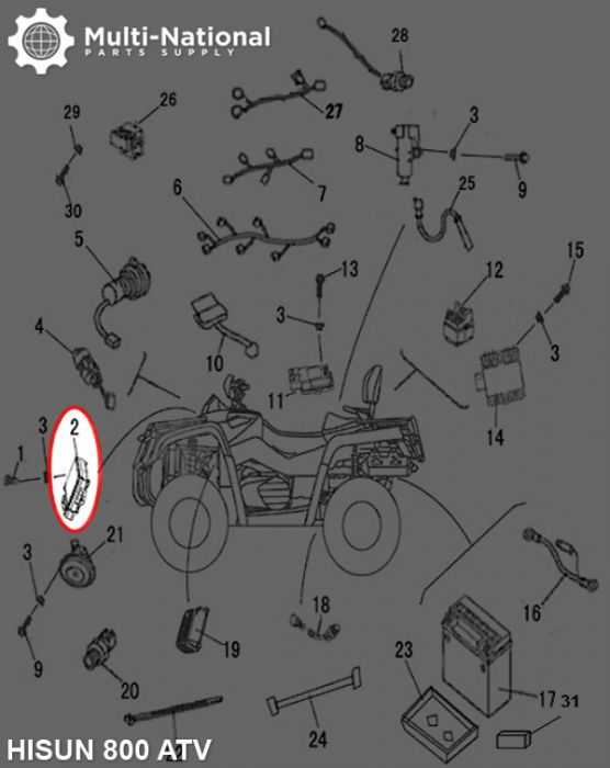 Relay Assembly - 400-800cc  Hisun  Atv  Utv - Multi-national Part Supply