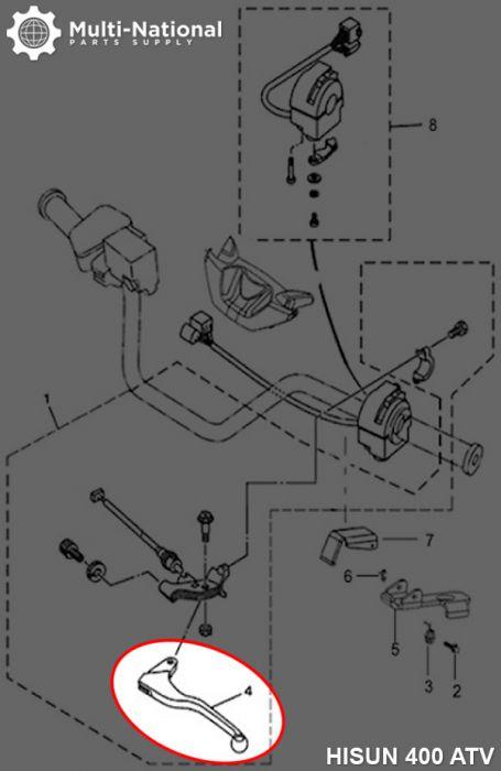 Brake Lever - Left Hand, ATV, Hisun, 400-700cc