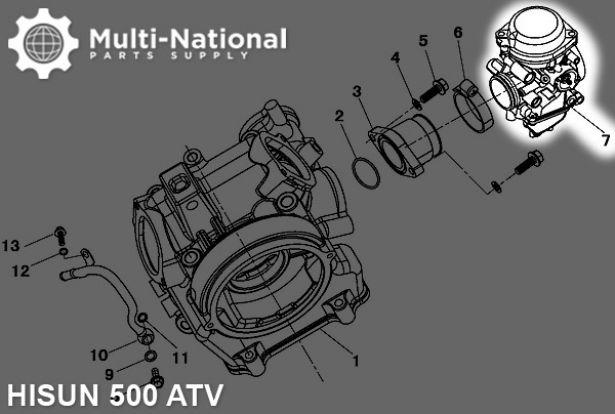 Carburetor - 33mm, Mikuni, 500cc, Hisun, PD33J-A