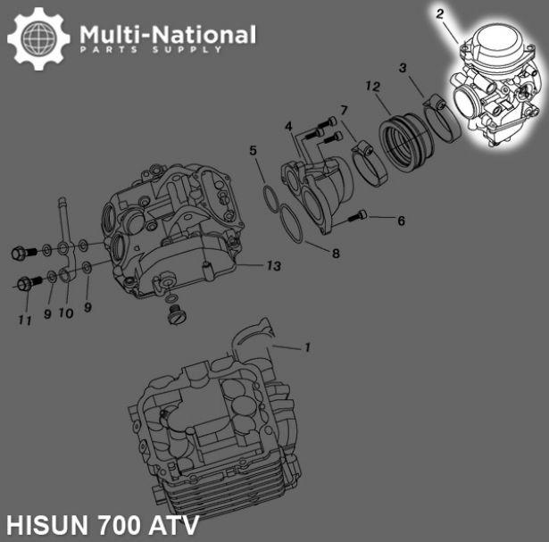 Carburetor - 42mm, Mikuni, 700cc, Hisun, PD42J