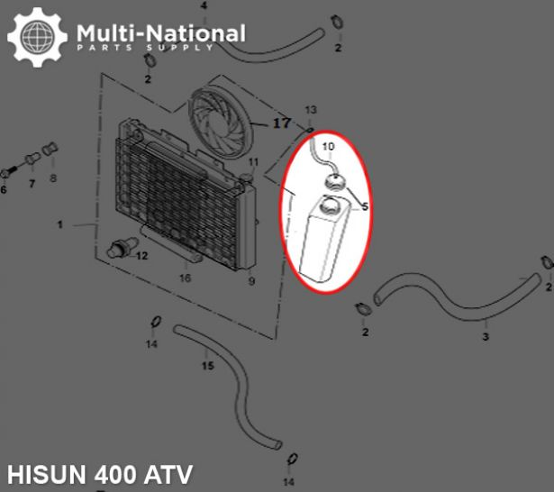 Radiator Overflow Tank - ATV, Hisun, 400cc