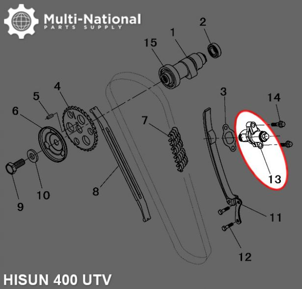 Timing Chain Adjuster - Hisun, 400cc, ATV/UTV