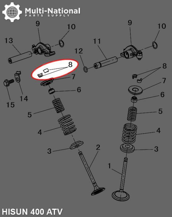 Valve Lock Clip - Seat Valve Spring, Hisun, 400-500cc, ATV/UTV (2pcs)