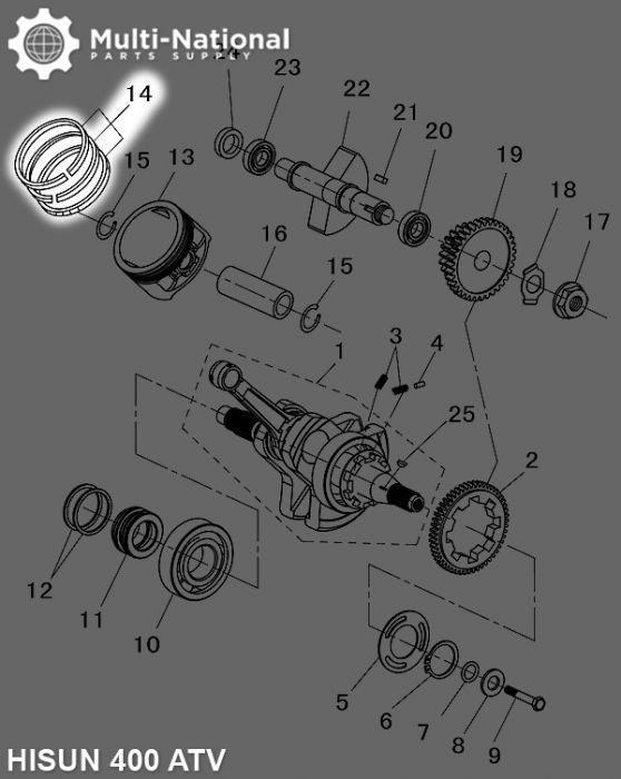 Piston Rings - 86mm, Hisun, 400-500cc, ATV/UTV (5pcs)
