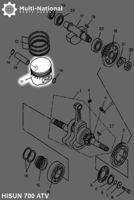 Piston - 102mm, ATV, Hisun, 700cc