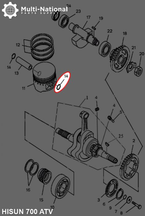 Circlip - Snap Ring, Wrist Pin, ATV, 700cc, Hisun