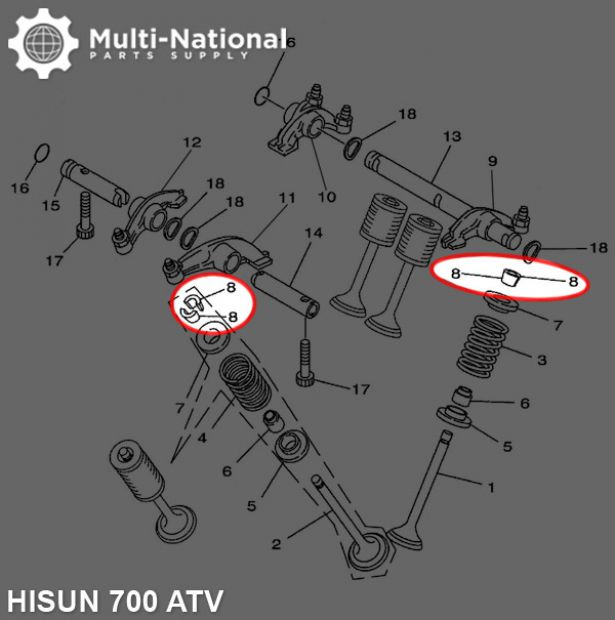Valve Lock Clip - Seat Valve Spring, ATV, Hisun, 700cc (1pc)