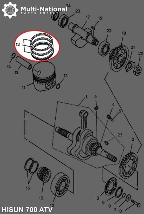 Piston Rings - 107mm (5pcs), ATV, Hisun, 700cc