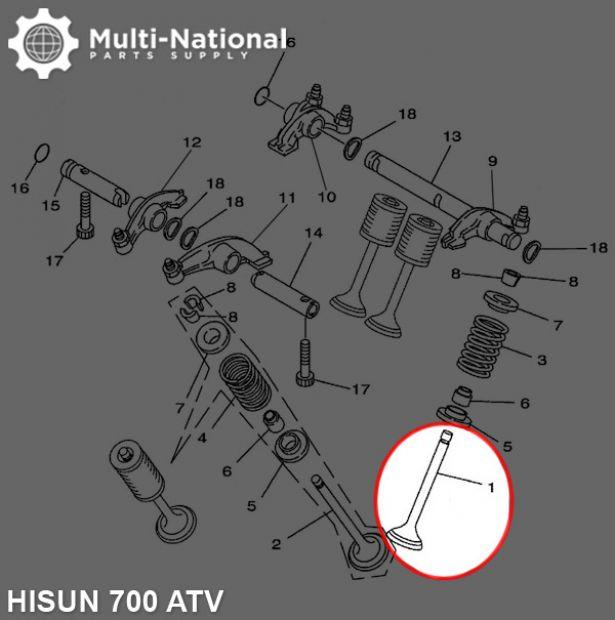 Intake Valve - ATV, Hisun, 700cc