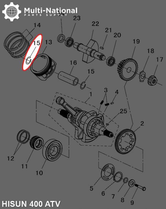 Circlip - Snap Ring, Wrist Pin, Hisun, Jianshe, 400-500cc, ATV/UTV